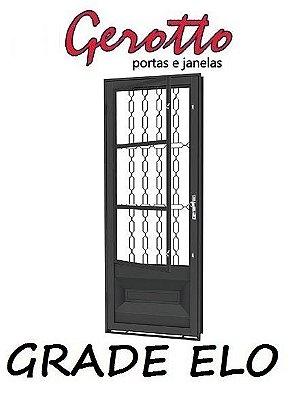 Porta de Abrir Social Almofada em Aço com Postigo (3 opções de grades) sem Vidro com Fechadura - Requadro 12 cm - Linha Prata Gerotto
