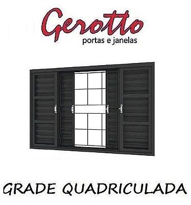 Janela Veneziana em Aço 6 Folhas (4 opçôes de Grade) sem Vidro - Requadro 12 cm - Linha Prata Gerotto