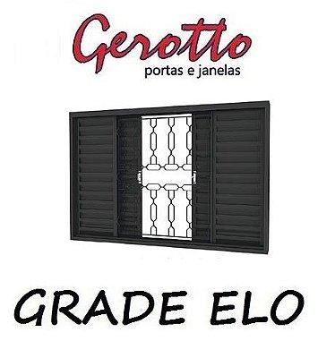 Janela Veneziana em Aço 4 Folhas (4 opçôes de Grade) sem Folha para Vidro - Requadro 12 cm - Linha Prata Gerotto