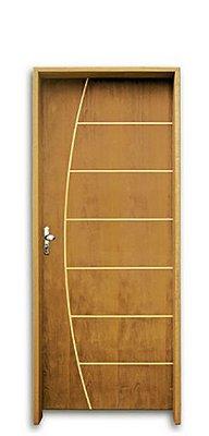 Porta de Abrir (Giro) em Madeira Semi Oca Imbuia Belíssima Riscada Batente de 14 cm com Fechadura e Maçaneta Taco de Golfe - Uniportas