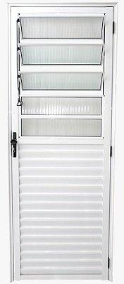 Porta de Abrir (Giro) em Alumínio Branco com Basculante Vidro Canelado - Linha 25 - ESX