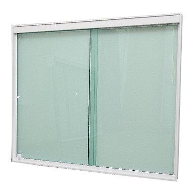 Janela de Correr 2 Folhas Vidro Verde Temperado 6 Milímetros Armação em Alumínio Branco com Puxador e Trinco - Linha Glass Esquadrimil