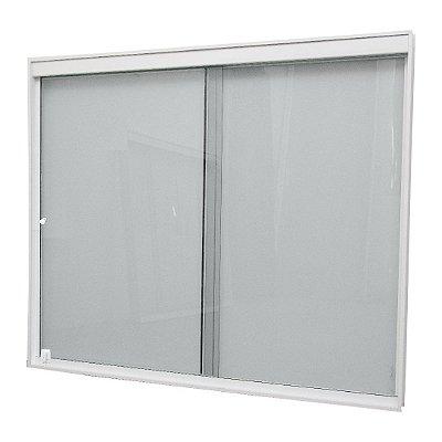 Janela de Correr 2 Folhas Vidro Incolor Temperado 6 Milímetros Armação em Alumínio Branco com Puxador e Trinco - Linha Glass Esquadrimil