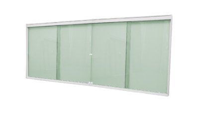Janela de Correr 4 Folhas Vidro Verde Temperado 6 Milímetros Cor Armação em Alumínio Branco com Puxador e Trinco - Linha Glass Esquadrimil