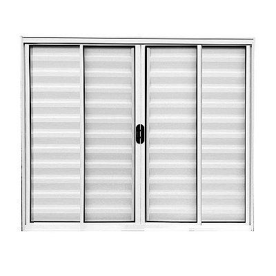 PRONTA ENTREGA - Janela Veneziana em Alumínio Branco 6 Folhas Vidro Liso Incolor - Linha Normatizada Lux Esquadrias