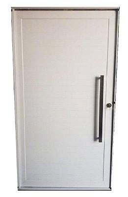 Porta Pivotante em Alumínio Branco Lambril Puxador 80 cm Fechadura Rolete - Linha 30 Esquadrisul