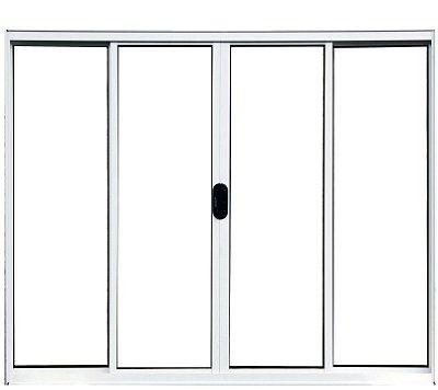 QUEIMA DE ESTOQUE - Janela de Correr em Alumínio Branco 4 Folhas Vidro Liso Incolor - Linha Normatizada Lux Esquadrias