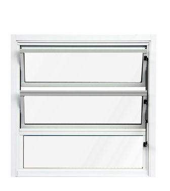 PRONTA ENTREGA - Janela Basculante em Alumínio Branco uma Seção Vidro Mini Boreal - Lux Esquadrias