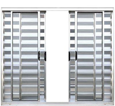 PRONTA ENTREGA - Janela Veneziana em Alumínio Brilhante 6 Folhas Vidro Liso Incolor - Linha Normatizada Lux Esquadrias