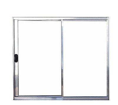 PRONTA ENTREGA - Janela de Correr em Alumínio Brilhante 2 Folhas Uma Fixa Vidro Liso Incolor - Linha Normatizada Lux Esquadrias