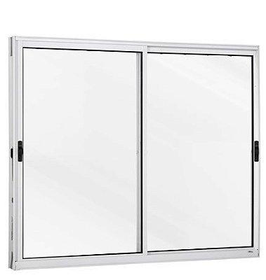 PRONTA ENTREGA - Janela de Correr em Alumínio Branco 2 Folhas Móveis Vidro Liso Incolor - Linha Modular Esap