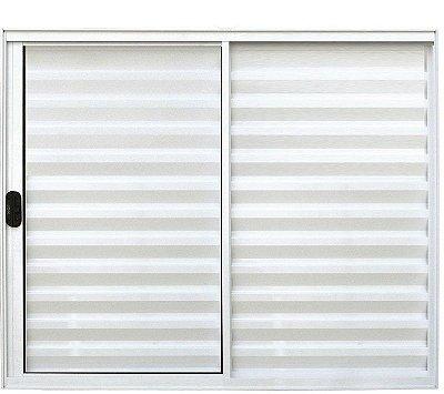 PRONTA ENTREGA - Janela Veneziana em Alumínio Branco 3 Folhas Uma Fixa Vidro Liso Incolor - Linha Normatizada Lux Esquadrias