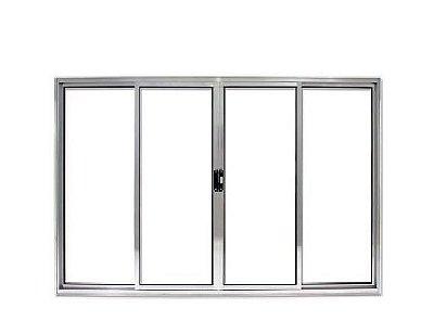 PRONTA ENTREGA - Janela de Correr em Alumínio Brilhante 4 Folhas Vidro Liso Incolor - Linha Modular Esap