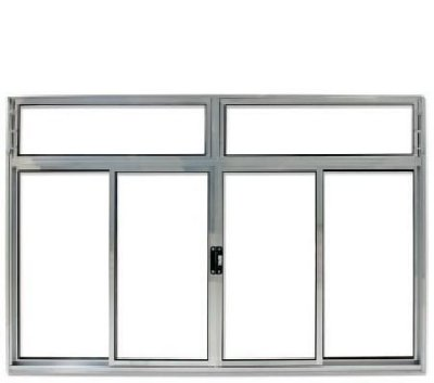PRONTA ENTREGA - Janela de Correr em Alumínio Brilhante 4 Folhas Com Bandeira Vidro Liso Incolor - Linha Modular Esap