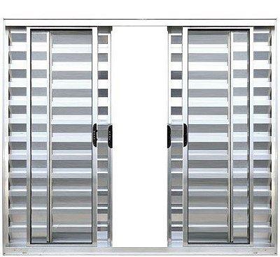 PRONTA ENTREGA - Janela Veneziana em Alumínio Brilhante 6 Folhas Vidro Liso - Linha Modular Esap