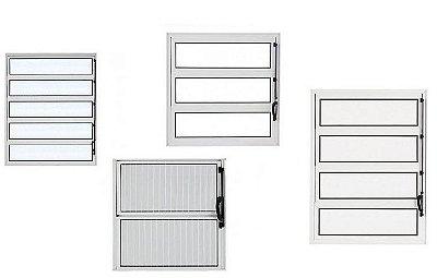 PRONTA ENTREGA - Janela Basculante em Alumínio Branco uma Seção Vidro Canelado - Esap