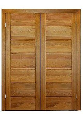 Porta de Abrir 2 Folhas em Madeira Tauari BBB Montada no Batente de 14 Cm Na Dobradiça - Mapaf