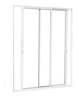 Porta de Correr em Alumínio Branco 2 Folhas Móveis Vidro Liso Incolor Temperado 5 mm Com Fechadura - Linha Premium Brasil Esquadrias