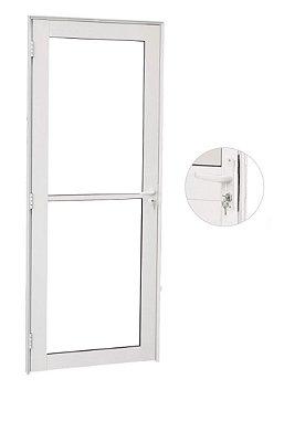 Porta de Abrir (Giro) em Alumínio Branco Vidro Incolor Temperado 5 mm - Linha Premium Brasil Esquadrias