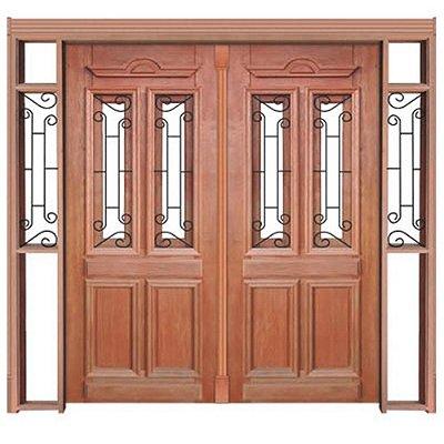 Porta de Abrir 2 Folhas em Madeira Cedro Arana Duquesa 002 Com Visor Montada no Batente de 14 Cm Sem Ferragem - Casmavi