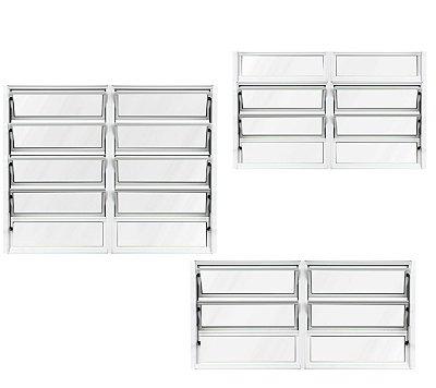 QUEIMA DE ESTOQUE - Janela Basculante em Alumínio Branco duas Seções Vidro Mini Boreal - Lux Esquadrias