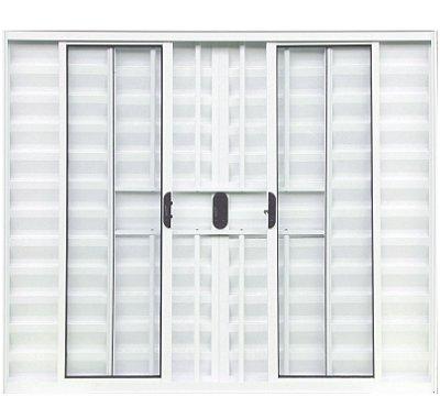 PRONTA ENTREGA - Janela Veneziana em Alumínio Branco 6 Folhas com Grade Vidro Liso Incolor - Linha Normatizada Lux Esquadrias