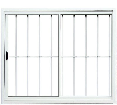 PRONTA ENTREGA - Janela de Correr em Alumínio Branco 2 Folhas Uma Fixa com Grade Vidro Liso Incolor - Linha Normatizada Lux Esquadrias