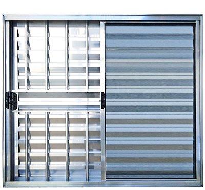 PRONTA ENTREGA - Janela Veneziana em Alumínio Brilhante 3 Folhas Uma Fixa com Grade Vidro Liso Incolor - Linha Normatizada Lux Esquadrias