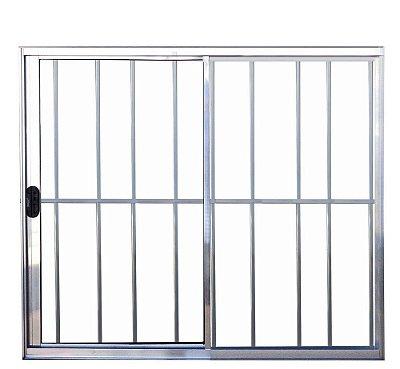 QUEIMA DE ESTOQUE - Janela de Correr em Alumínio Brilhante 2 Folhas Uma Fixa com Grade Vidro Liso Incolor - Linha Normatizada Lux Esquadrias