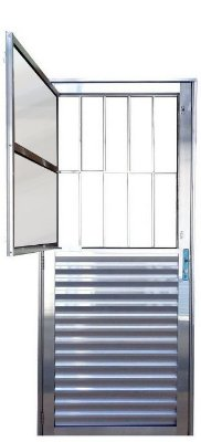 PRONTA ENTREGA - Porta de Abrir (Giro) em Alumínio Brilhante Social com Postigo Vidro Mini Boreal - Linha 25 Lux Esquadrias