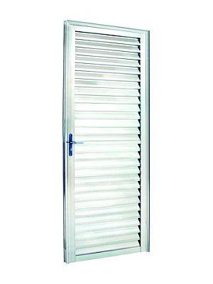 PRONTA ENTREGA - Porta de Abrir (Giro) em Alumínio Brilhante Palheta Sem Ventilação - Linha 25 Lux Esquadrias