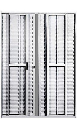PRONTA ENTREGA - Porta Balcão em Alumínio Branco 6 Folhas Vidro Liso e Veneziana Com Fechadura - Linha Max Lux Esquadrias