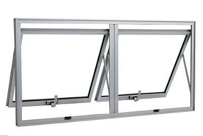 PRONTA ENTREGA - Janela Maxim-ar em Alumínio Brilhante duas Seções Horizontal sem Grade Vidro Mini Boreal - Linha Max Lux Esquadrias