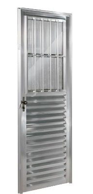 PRONTA ENTREGA - Porta de Abrir (Giro) em Alumínio Brilhante Social com Postigo Vidro Canelado - Linha 25 Esquadrisul