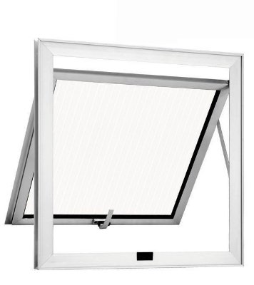 QUEIMA DE ESTOQUE - Janela Maxim-ar em Alumínio Branco uma Seção Vidro Mini Boreal - Linha 25 Trifel