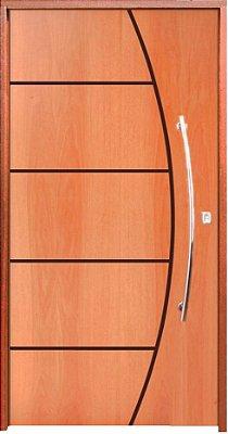 Porta de Abrir Pivotante Belíssima em Madeira Curupixá com Puxador e Fechadura Batente de 14 Cm - Rick Esquadrias