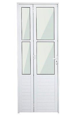 Porta Camarão em Alumínio Branco Lambril Com Fechadura e Vidro Mini Boreal - Linha Premium Lux Esquadrias