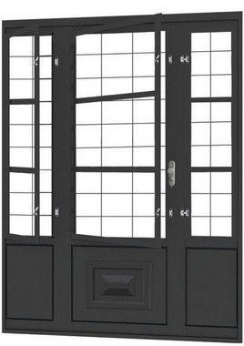 QUEIMA DE ESTOQUE - Porta de Abrir Seteira Dupla em Aço com Postigo Grade Quadriculado sem Vidro com Fechadura Requadro 12 cm - Linha Ouro Gerotto