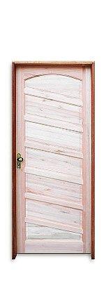 Porta de Abrir (Giro) Topázio em Madeira Maciça Eucalipto com Fechadura e Maçaneta Externa MGM Batente de 14 Cm Uniportas