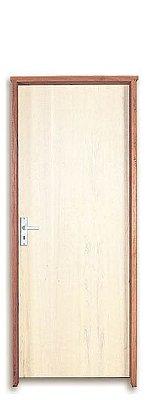 QUEIMA DE ESTOQUE - Porta de Abrir (Giro) em Madeira Semi Oca Lisa Amescla Para Pintura Batente de 9 cm com Fechadura e Maçaneta Interna - Uniportas