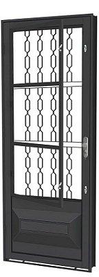 QUEIMA DE ESTOQUE - Porta de Abrir Social Almofada em Aço com Postigo Grade Elo sem Vidro com Fechadura - Requadro 12 cm - Linha Prata Gerotto