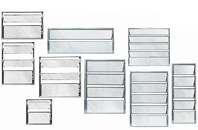 Janela Basculante em Alumínio Brilhante uma Seção Vidro Mini Boreal - Linha Moderna