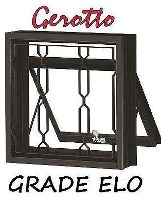 Janela Maxim-Ar em Aço uma Seção com Grade (3 opçôes de Grade) sem Vidro - Requadro 12 cm - Linha Prata Gerotto