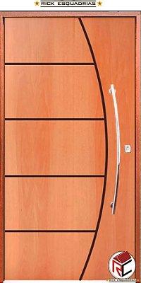 QUEIMA DE ESTOQUE - Porta de Abrir Pivotante Belíssima em Madeira Curupixá com Puxador e Fechadura Batente de 14 Cm - Rick Esquadrias