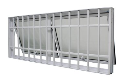 PRONTA ENTREGA - Janela Maxim-ar em Alumínio Branco Duas Seções Horizontal Com Grade Vidro Mini Boreal - JAP 25