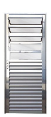 Porta de Abrir (Giro) em Alumínio Brilhante Com Basculante Vidro Mini Boreal - Linha 25 Lux Esquadrias