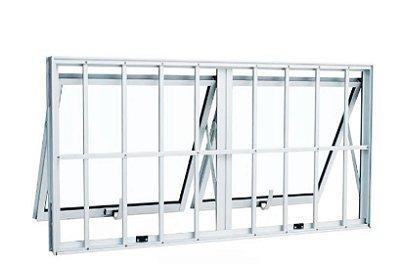 PRONTA ENTREGA - Janela Maxim-ar em Alumínio Branco duas Seções Horizontal com Grade Vidro Mini Boreal - Linha Max Lux Esquadrias