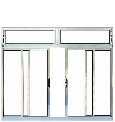 QUEIMA DE ESTOQUE - Janela de Correr em Alumínio Brilhante 4 Folhas com Bandeira Vidro Liso Incolor - Esquadrisul