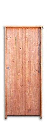 Porta de Abrir (Giro) Calha em Madeira Pinus com Fechadura Caixão Batente de 9 Cm - Uniportas