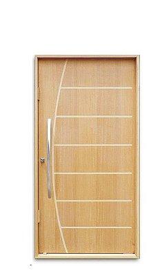 Porta de Abrir Pivotante Belíssima em Madeira Imbuía com Puxador Reto 60 cm e Fechadura Batente de 14 Cm - Uniportas